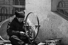 Bike Man (CaptainAlexanderYin) Tags: china man bike underground shanghai tunnel captain fixing alexander yin pathway