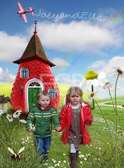 Fairy-cottage (FairyChicPrints) Tags: door blue roof red sky white house green home window grass collage fence germany happy rainbow berry peace post box hill cottage creative strawberries fairy card harmony shack comfort clowds realty camomile immobilie realproperty