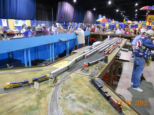 Model railroad train layout HO-scale at Oklahoma City model train show 36th annual