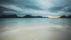 Haukland beach, Lofoten, Norway (B.AA.S.) Tags: sunset sea summer sky mountain beach nature water norway clouds landscape evening norge sand july lofoten vann sj 2016 nordland beautyinnature
