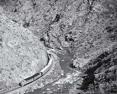 Caon City and Royal Gorge (Christopher J May) Tags: monochrome blackandwhite bw canonf1n kodachrome64 f7 emd co colorado arkansasriver tourist caoncityandroyalgorge locomotive railroad train