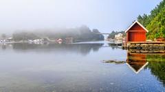 Misty morning, Norway (Vest der ute) Tags: g7x norway rogaland ryksund reflections landscape seascape mist boathouse sea houses earlymorning fav25 fav200