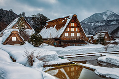 Snowy Cabins (peter stewart photography) Tags: shirakawago gifu japan asia winter snow thatched farmhouse gasshozukuri ogimachi outdoor mountain cold chalet