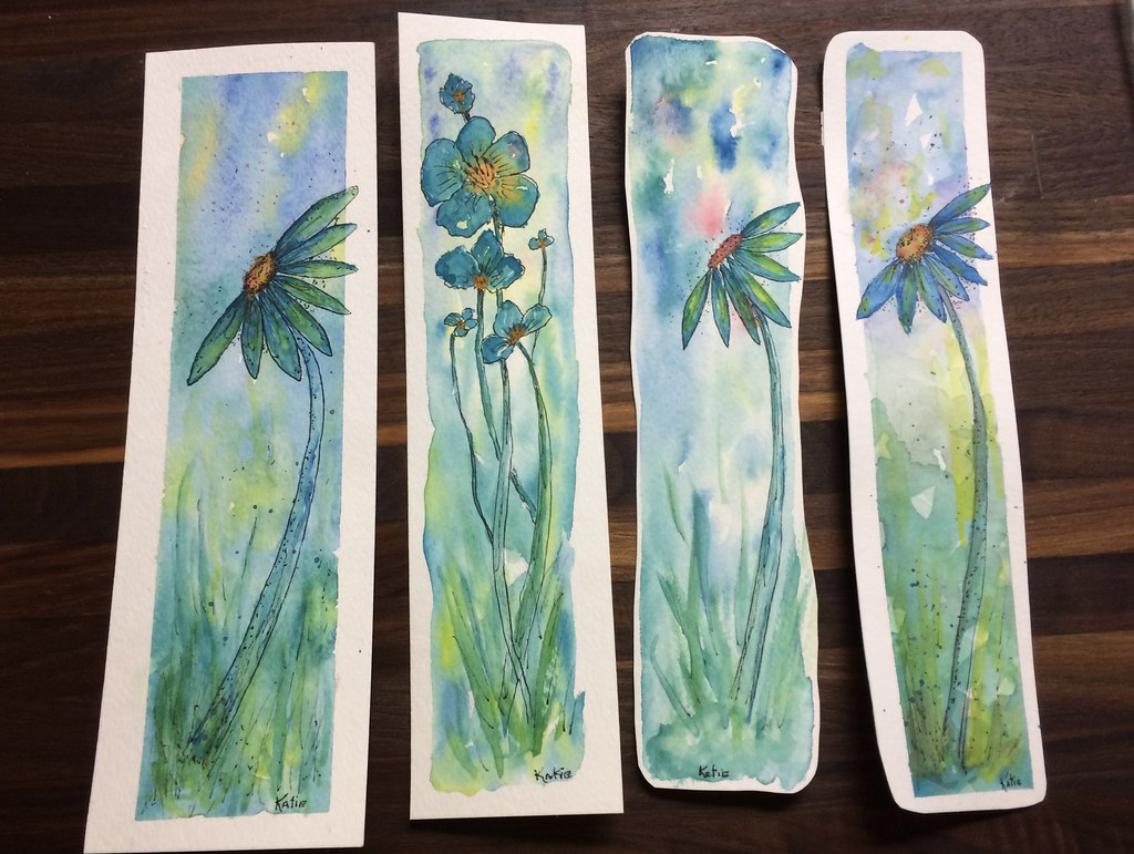 Watercolor bookmarks - Watercolor Bookmarks Fiddlekate Katie Waller Tags Watercolor Bookmarks Flowers Aqua