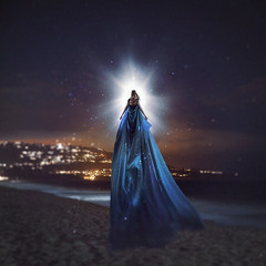 the north star and the sea witch (sparkbearer) Tags: 365 365project sea ocean witch star northstar fineartphotography blue cyan teal calm night beach water stars bright