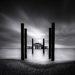 Forgotten (Fern Blacker) Tags: longexposure finest blackandwhite mono seascape beach eastsussex westpier brighton old skeleton structure sussex mood drama water sea clouds seaside coast coastal