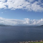 Looking west up Beauly firth (Loch Beauly) from South Kessock Ferry slipway Inverness Scotland thumbnail