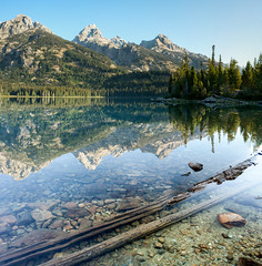 (craftyalliekat) Tags: nikon d7200 grandtetonnationalpark nationalpark teton mountains wy wyoming morning landscape water reflection sunrise panorama taggart lake august 2016
