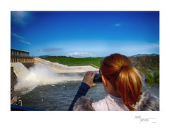 Capturing the Moment (heritagefutures) Tags: water release hume dam murray river albury nsw australia tourist photographer spectator onlooker visitor woman camera phone
