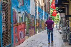 Young Man Walking in Back Street, Istanbul (danliecheng) Tags: beyoglu istanbul turkey alley back backstreet colorful editorial flags graffiti handphone jeans lane man purple shirt summer travel visit walk wall young