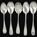 2041. Five Bright Cut Engraved Sterling Spoons