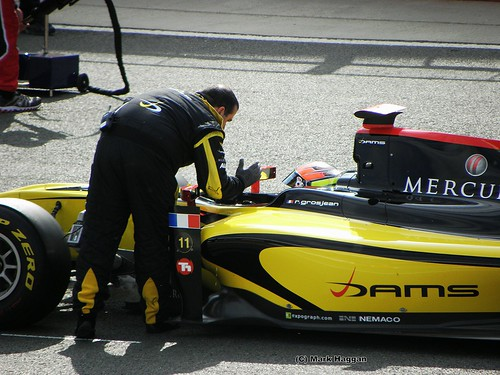 Romain Grosjean prepares to start the GP2 Sprint Race at the 2011 British Grand Prix at Silverstone