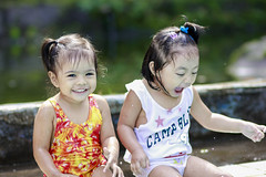 Cute (Lhems Cool-let) Tags: portrait baby cute water pool beautiful smile swim children happy bokeh candid 85mm lhems