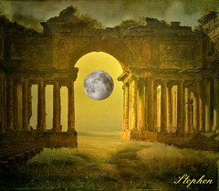 ~ The Moon and an Archway ~ (stephgum32807) Tags: creativecommons specialeffects photomix thegalaxy artdigital bestartever texdture creativephotocafe