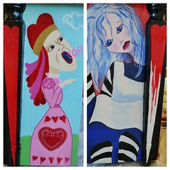 Alice in Wonderland Piano - sides (heathermariecarr) Tags: streetart painting underground paint tea alice piano queen caterpillar publicart madhatter teaparty aliceinwonderland grinshorelinepiano
