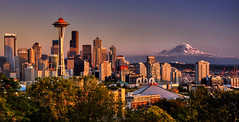 Clear Autumn Sunset, Seattle (Michael Riffle) Tags: seattle autumn sunset fall skyline canon landscape photography volcano washington october day cityscape northwest dusk clear rainier cascades pacificnorthwest spaceneedle mtrainier goldenhour 2012