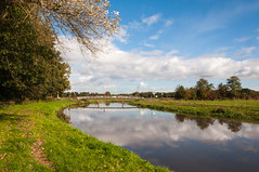 Dutch landscape in autumn - Brug over de Mark (RuudMorijn-NL) Tags: travel bridge blue autumn light summer sky panorama cloud holland reflection tree green fall nature water netherlands beautiful dutch grass clouds rural river season landscape outside mirror countryside scenery colorful europe day quiet view natural bright cloudy outdoor mark horizon country herfst smooth scenic peaceful scene surface calm foliage silence serene picturesque idyllic brabant tranquil landschap kleurrijk noordbrabant bruggetje reflectie brabants spiegeling najaar ulvenhout smalle oppervlak markdal abigfave schilderachtig spiegelglad bovenmark