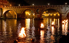 Romans crowd the Ponte Sisto to watch WaterFire