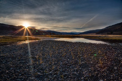 Lamar Valley Morning (stewartbaird) Tags: autumn usa nature sunrise river landscape nationalpark sunburst yellowstone wyoming hdr 2012 lamarvalley rockswater sxbaird stewartbaird