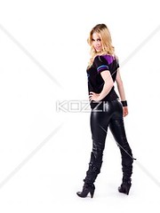 rear view of a blonde woman looking at camera (hannapeople2012) Tags: portrait woman beautiful beauty modern female standing pose photography pretty gorgeous fulllength posing indoors attitude whitebackground trendy blonde studioshot posture rearview youngadult casualwear adultsonly confident oneperson caucasian fashionable individuality youthculture casualclothing colorimage onewomanonly lookingatcamera handonhips oneyoungwomanonly attractivefemale 2024years