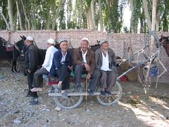Three old men at Kashgar animal market (mbphillips) Tags: xinjiang 新疆 中国 west 中國 شىنجاڭ kashgar 喀什 قەشقەر fareast asia アジア 아시아 亚洲 亞洲 china 중국 mbphillips canonixus400 market 市場 市场 시장 mercado geotagged photojournalism photojournalist
