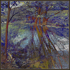 Autumn Stream (Tim Noonan) Tags: blue autumn trees colour reflection fall texture digital forest photoshop season landscape stream earth branches violet surreal canadian ripples ochre shining mosca cadmium vividimagination wetworks greenscene shockofthenew sharingart maxfudge awardtree maxfudgeawardandexcellencegroup magicunicornmasterpiece magiktroll exoticimage digitalartscene netartii