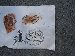 Halloween time (catheadsix) Tags: street art halloween found skull drawing walk asphalt stiches