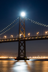Beacon over the Bay (Images by John 'K') Tags: sanfrancisco moon night nikon fullmoon moonrise baybridge embarcadero johnk d600 nikond600 camerawest 100offull johnkrzesinski randomok