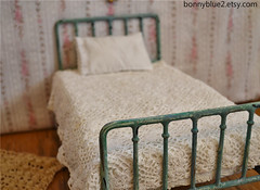 Doll Bed Playscale Blythe Bed Barbie (Dream Come True Beds) Tags: old scale metal vintage miniature bed bedroom iron doll furniture handmade antique room victorian barbie retro headboard blythe chic 16th distressed mattress dollhouse bedding shabby fashioned footboard playscale