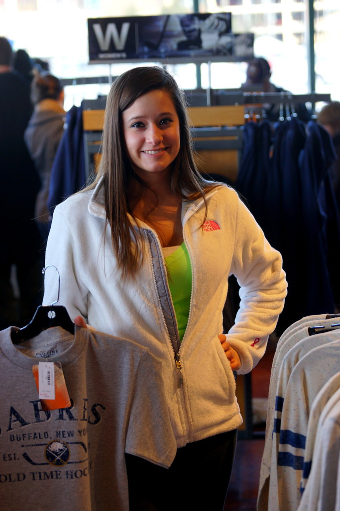My niece Amanda, shopping at Buffalo Sabres store.