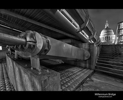 Millennium Bridge (esslingerphoto.com) Tags: city uk longexposure greatbritain bridge england bw white black building london church architecture night stairs canon buildings photography eos lights evening europe long exposure cityscape shot nightshot britain capital great under stpauls architectural staircase single dome gb 5d nightshots mkii esslinger esslingerphotocom