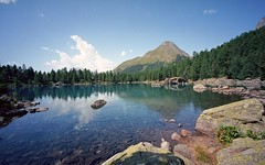 a delightful lake (Riex) Tags: mountain lake alps film beautiful zeiss forest montagne alpes wonderful landscape schweiz switzerland rocks view suisse kodak stones cosina voigtlander scenic lac rangefinder wideangle vista shallow pierres svizzera paysage ikon foret vue 15mm marvelous swh heliar cailloux ektar cartepostale graubnden grisons superwideheliar lej saoseo merveilleux graubunden valdicampo postcardperfect mmount ektar100 superheliar supergrandangle lejin laghdasaoseo zmmount