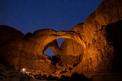 Double Arch (David Kingham) Tags: park nightphotography lightpainting night stars nightscape arches national workshop doublearch