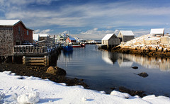 Winter at Peggy's Cove (sminky_pinky100 (In and Out)) Tags: travel winter snow canada cold tourism water landscape boats community rocks novascotia harbour huts coastal peggyscove iconic fishingvillage omot cans2s masterclassexhibition masterclasselite thenewmasterclass