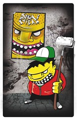 graphic character (AGONISTICKo) Tags: street urban art face up yellow wall photoshop poster graffiti design graphic puppet character paste glue illustrator draw vector agonisticko
