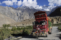 KARAKORAM HIGHWAY (BoazImages) Tags: pakistan mountains truck river landscape asian outdoors highway colorful asia transport central lorry valley transportation karakoram hunza range pamir paksu boazimages