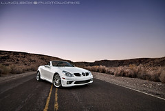 SLK55AMGTopDown (Lunchbox PhotoWorks) Tags: sunset west mercedes nikon european open muscle top space side negro hard albuquerque convertible drop canyon tokina d200 lunchbox 55 boca v8 amg petroglyphs 1224 manfrotto merc slk photoworks