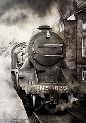No 825, NYMR, Grosmont, England. (2c..) Tags: uk ireland england building train flickr smoke yorkshire railway trains best steam carraiges locomotive railways 2c nymr 72dpipreview lowresolutionpreview 2c