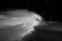 Surf's Up #3 (Louis Bamford) Tags: uk travel winter light summer bw white black hot cold fall beach me wet water silhouette sport swim photography nikon friend freestyle funny rocks cornwall surf waves arms lol seagull gull board rip surfing spray balance splash swag wetsuit unlucky fain nikond7000
