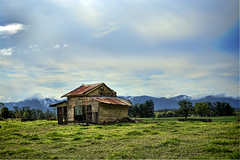 Old shed (Explored 4 February 2013) (Indigo Skies Photography) Tags: camera trees roof sky mountains colour grass clouds digital lens photography aperture nikon iron exposure flickr timber farm shed australia raleigh iso nsw newsouthwales colourful paddock milkingshed nikond90 raychristy