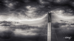 Turbulence_mono (dougkuony) Tags: blackandwhite bw monochrome weather clouds mono omaha hdr turbulence walkingbridge bridgetonowhere bobkerrypedestrianbridge bobkerrybridgetowers