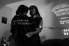 It's my birthday so I'm having a house party (Gary Kinsman) Tags: projected candid unposed fujix100t fujifilmx100t london 2016 nw5 kentishtown party houseparty blackwhite bw night late availablelight ambientlight highiso dark koyaanisqatsi film projecting