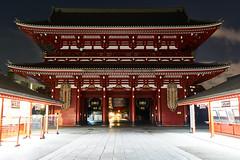 Sensoji-Temple (yoshikazu kuboniwa) Tags: ancient architecture asakusa asia buddhism buddhist gate history huge japan japanese landmark night oriental red religion sensoji shrine sightseeing sky temple tokyo tradition treasure worship zen sony