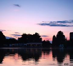Sunset over the lake, Pazardzhik, Bulgaria (d_dobreff) Tags: nikon d3300 kit lens outdoor photography night sky sun sunset clouds water lake landscape urban city town pink blue red peaceful idily sunglasses filter trees nature illuminated traces