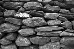 Dry Stone Wall 1/5 (rees_wj) Tags: blackandwhite texture architecture sony a6000 tamron bnw rock stonework monochrome rocks abstract pattern ireland 2870mm