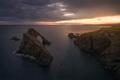 Bow Fiddle Rock (mitalpatelphoto) Tags: highlands scotland adventure aerial blue bowfiddlerock cliffs clouds dji europe explore green horizontal landscape nikon north northsea ocean phantom4 rocks seaarch seastack sunrise travel uk unitedkingdom visit water portknockie gb