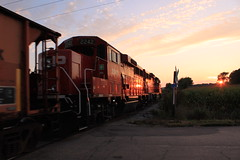 Secondary Sunset (MILW157) Tags: cp rail ornis road canadian pacific waterloo spur watertown geep gp20eco emd sunset railroad jointed