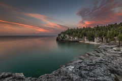 Indian Head Cove at Sunset (angie_1964) Tags: sunset color colour sky pink clouds longexposure rocks stone trees georgianbay nikond800e landscape seascape nature cypruslakeroad canada niagaraescarpment explore