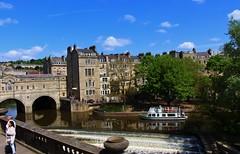 The river Avon Bath (Eddie Crutchley) Tags: europe england bath river outdoor sunlight bridge riveravon weir blueskies trees simplysuperb