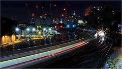 Night View from Ebury Bridge (BC3.photography) Tags: battersea trains train transportation nightphotography night upallnight starburst canon travel vacation longexposure london england uk chelsea bridge rail yard crane construction lights lighttrail